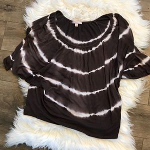 Rome & juliet brown flutter sleeves tie dye stripe